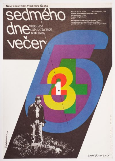 Movie Poster, The Seventh Evening, 70s Graphic Art