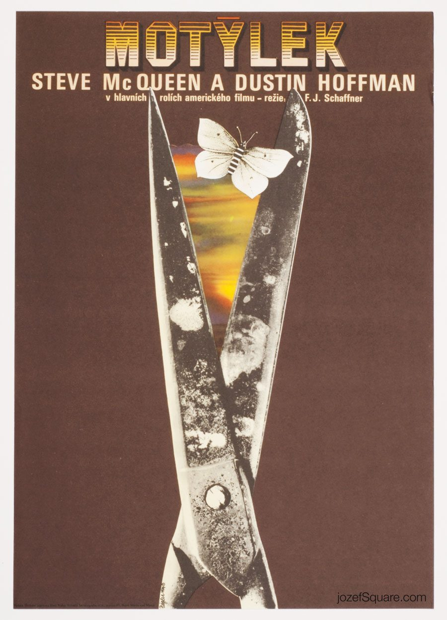 Papillon Movie Poster, Zdenek Ziegler, 70s Cinema Art