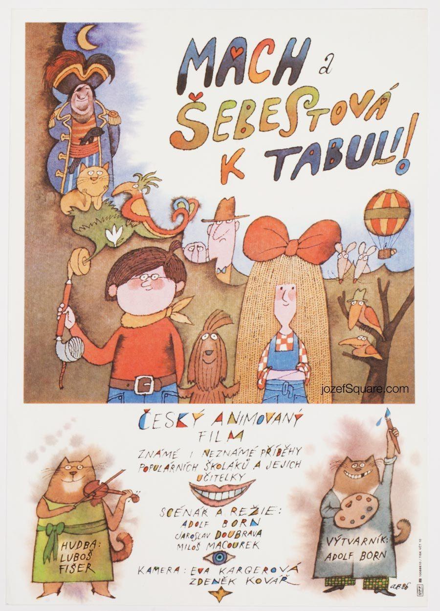 Kids Movie Poster, Mach and Sebestova to the Board, Adolf Born