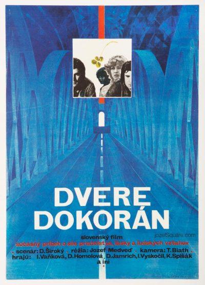 Movie Poster, Doors Wide Open, 70s Illustrated Cinema Art