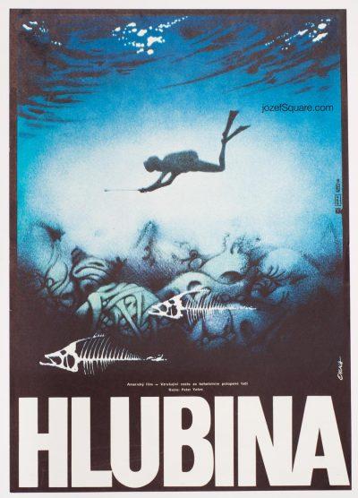 Movie Poster, The Deep, 70s Cinema Art