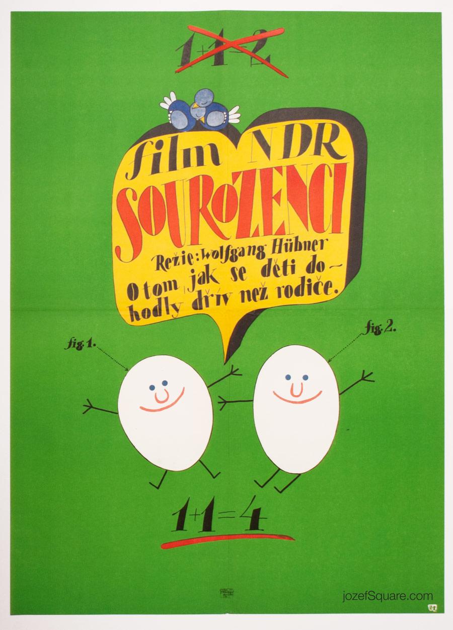 Childrens Movie Poster, Siblings, 70s CInema Art