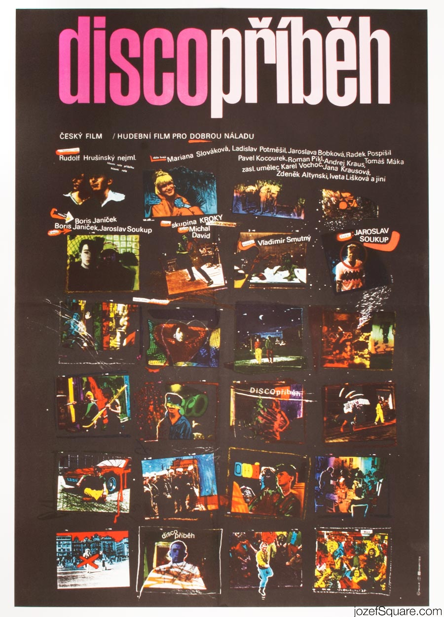 80s Movie Poster, Disco Story, Illustrated Cinema Art
