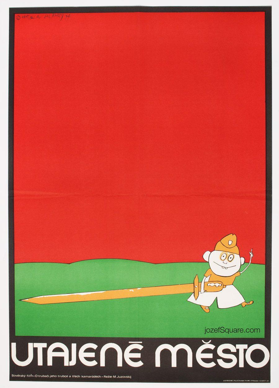Kids Movie Poster, Vratislav Hlavatý, 70s Illustrated Cinema Art