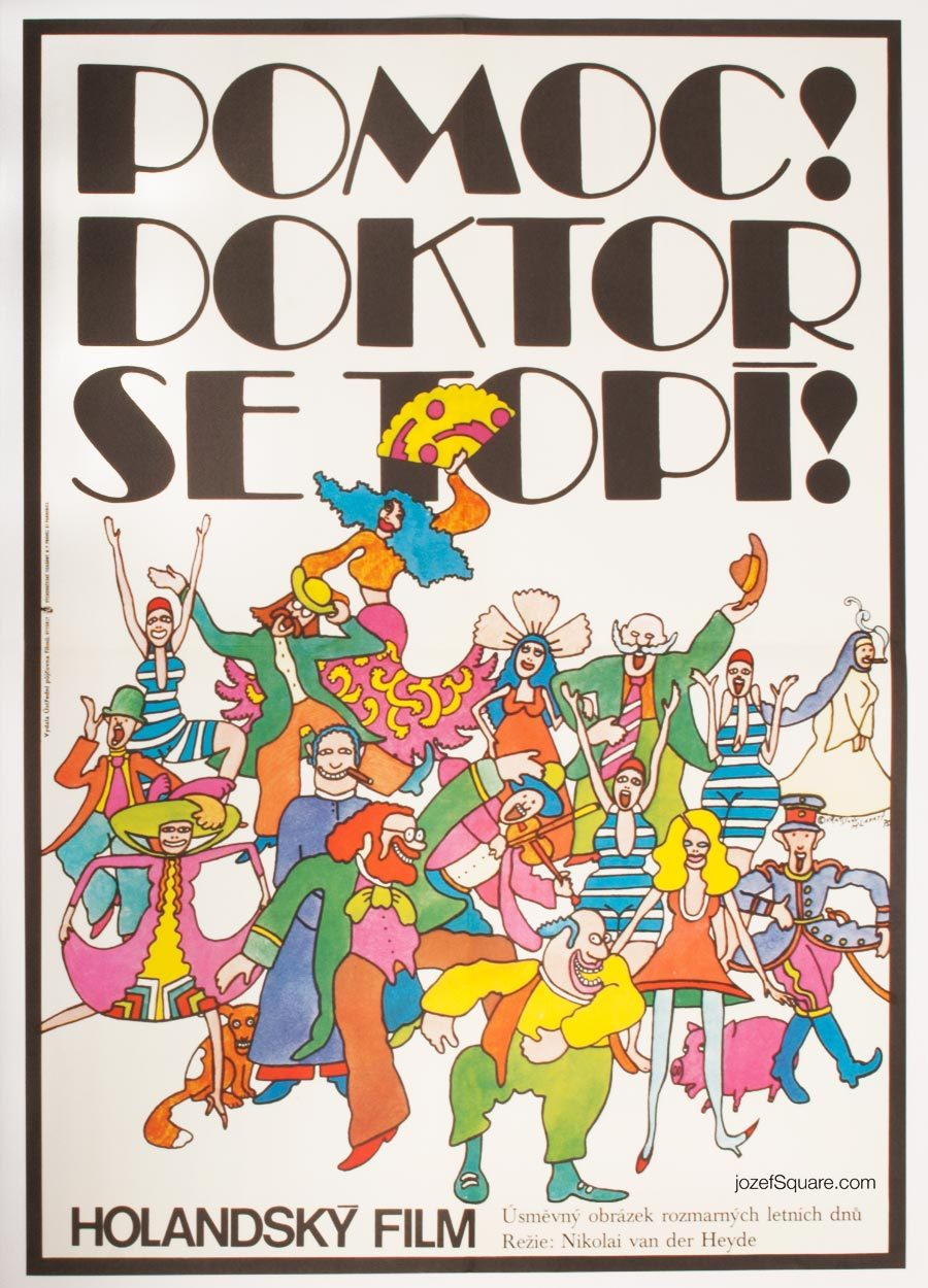 Movie Poster, Help, The Doctor Is Drowning, 70s Cinema Art