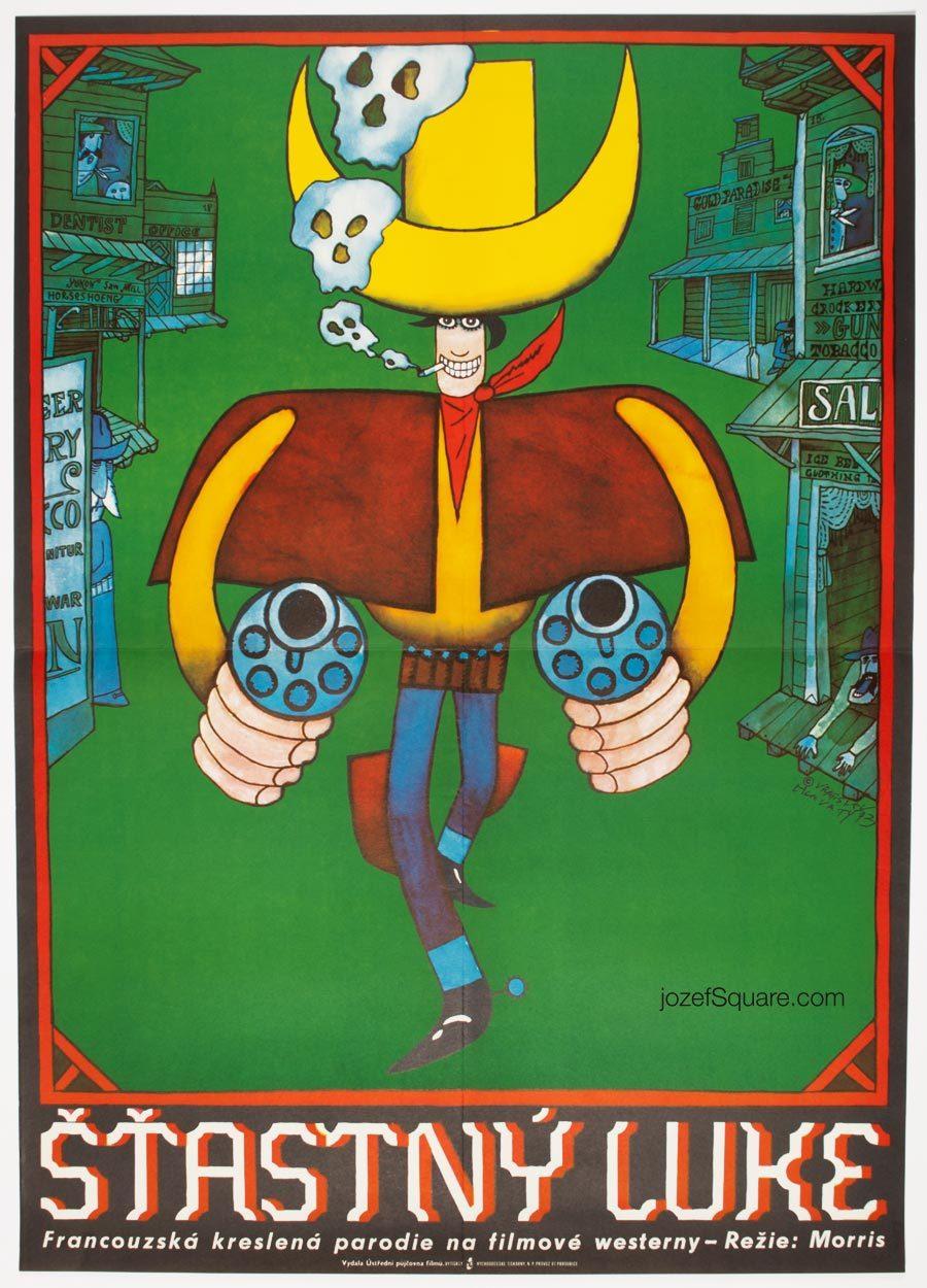 Lucky Luke Movie Poster, 70 isIllustrated Western Cinema Art