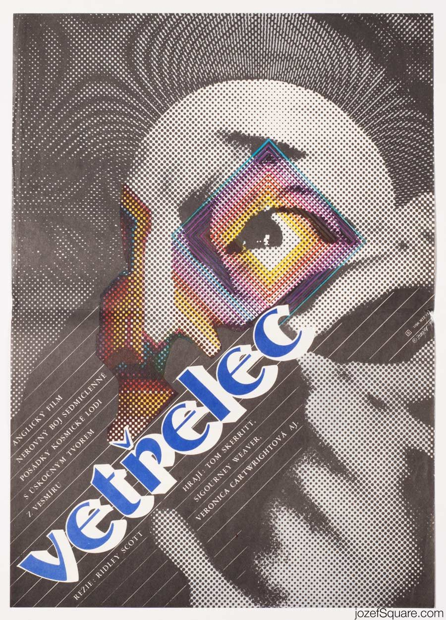 Alien Movie Poster, RIiley Scott, Vintage Cinema Art