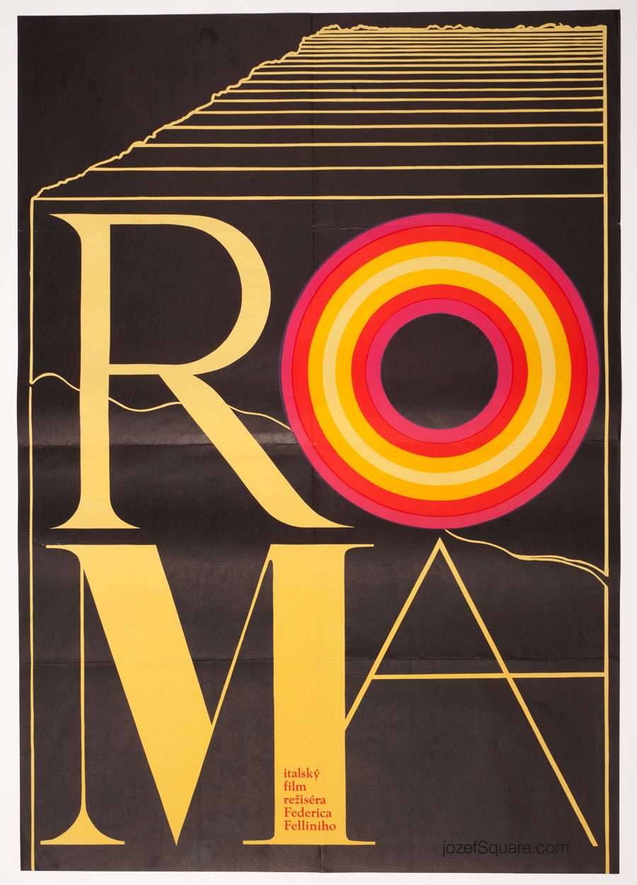Roma Movie Poster, Federico Fellini, 70s Cinema Art
