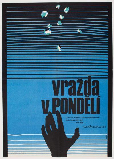 MInimalist Movie Poster, Murder on Monday, 70s Cinema Art