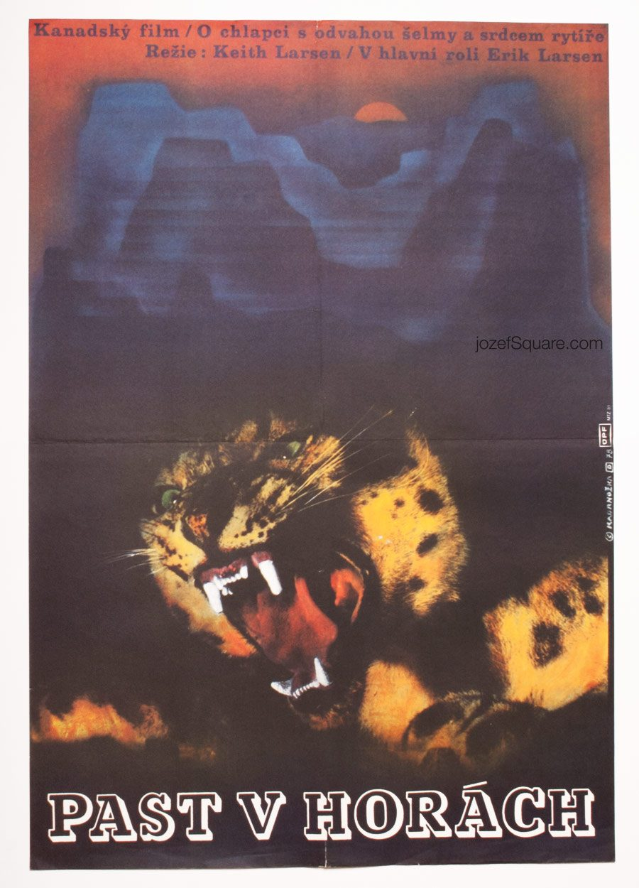 Western Movie Poster, Trap on Cougar Mountain, 70s Cinema Art