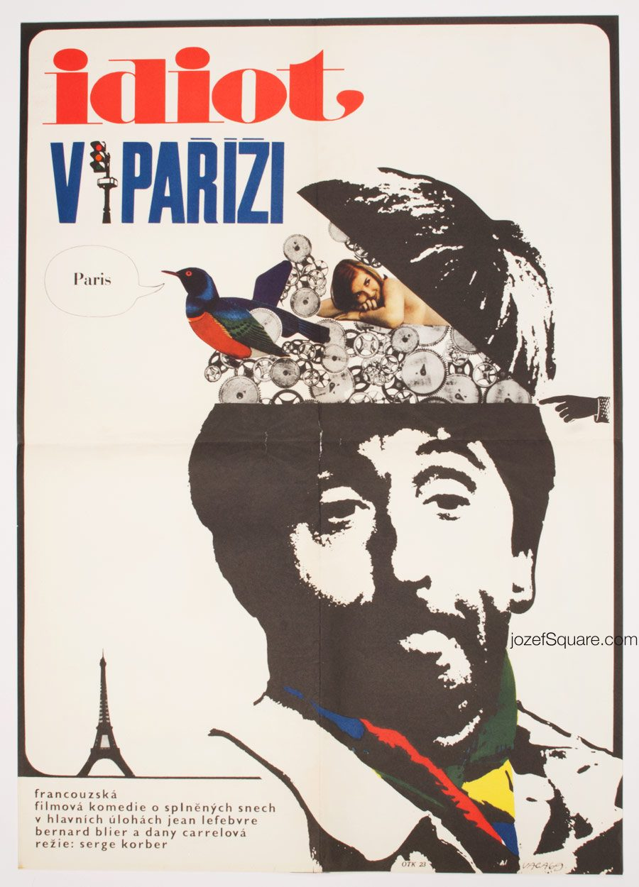 Movie Poster, Idiot in Paris, 60s French Cinema