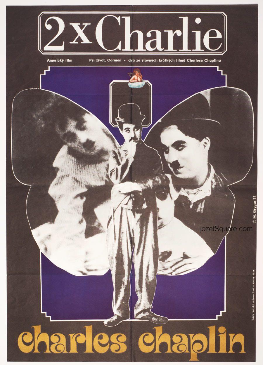 Movie Poster, 2 x Charlie, Charlie Chaplin Cinema Art