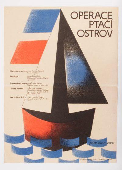 Kids Movie Poster, Operation Bird Island, 60s Cinema Art
