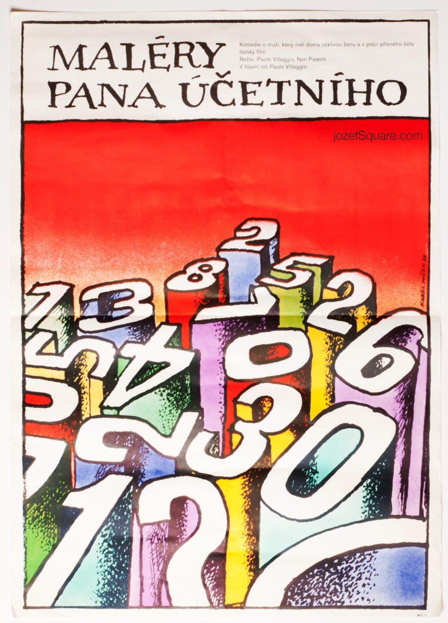 Movie Poster Fantozzi Against the Wind, 80s Cinema Art, Vintage Typography Design