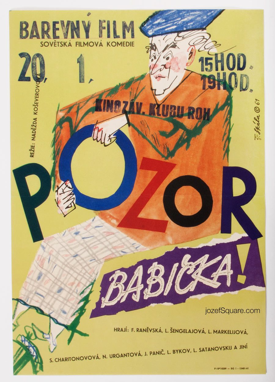 Movie Poster, Be Careful, Grandma, 60s Cinema Art