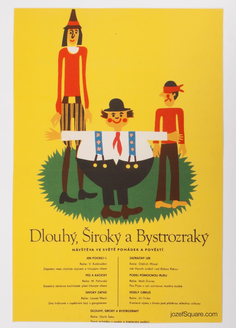 Kids Movie Poster, Tall, Wide and Shortsighted, 70s Cinema Art