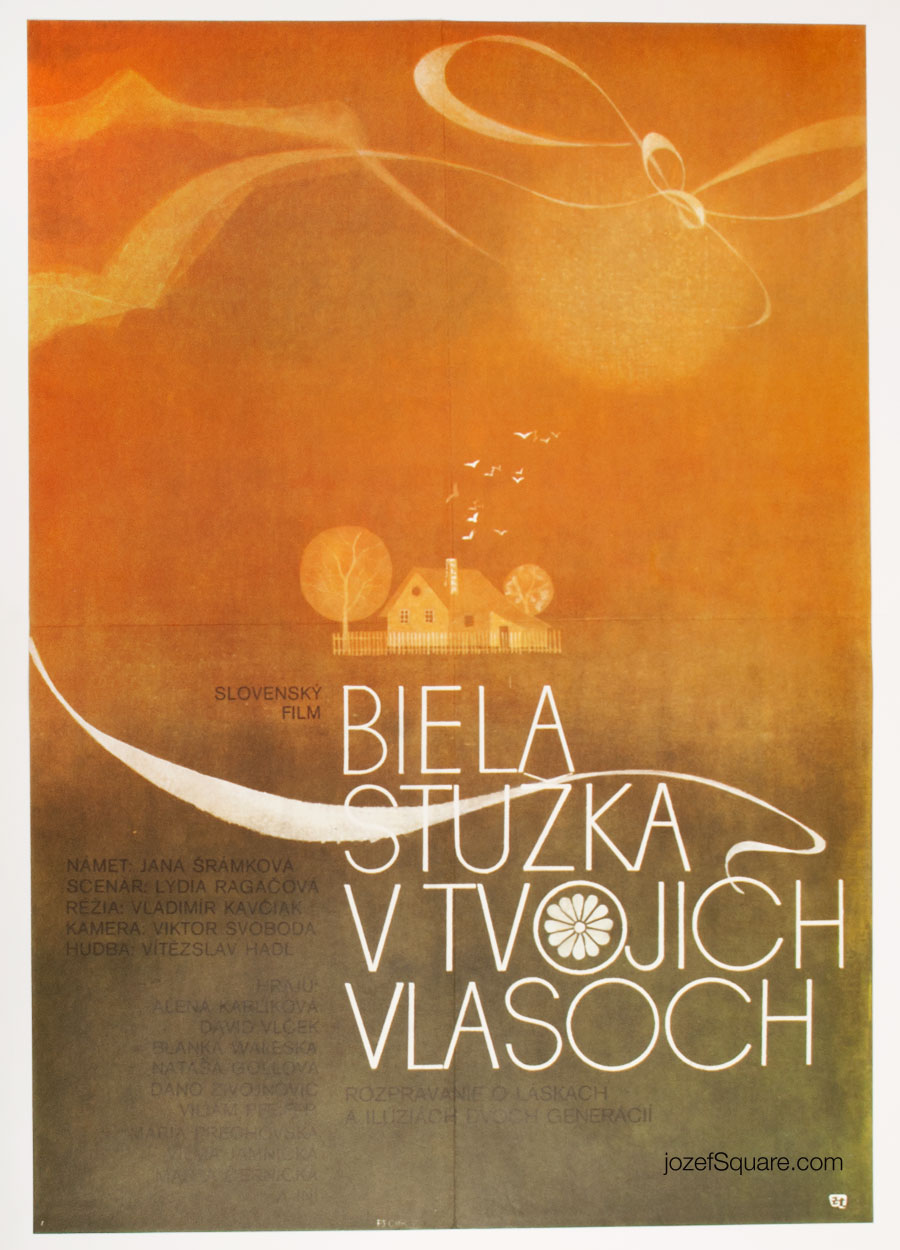 Movie Poster, White Ribbon in Your Hair, 70s Cinema Art