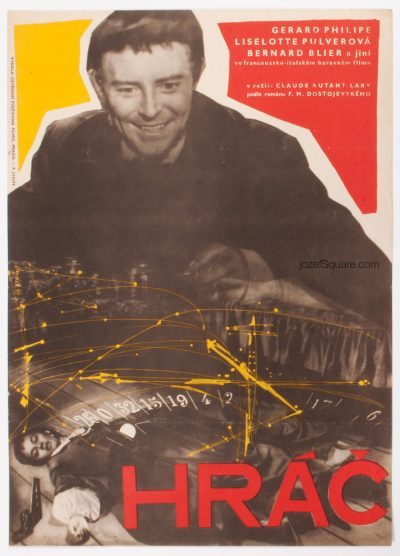 Movie Poster, The Gambler, Dostoyevsky, 50s Cinema Art