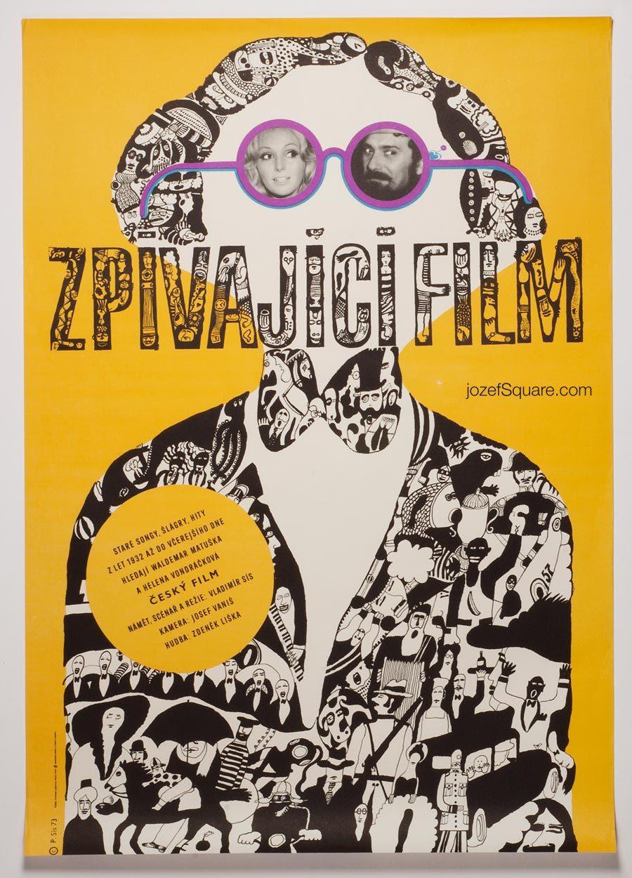 Movie Poster, Singing Film, Petr Sis, 70s Cinema Art