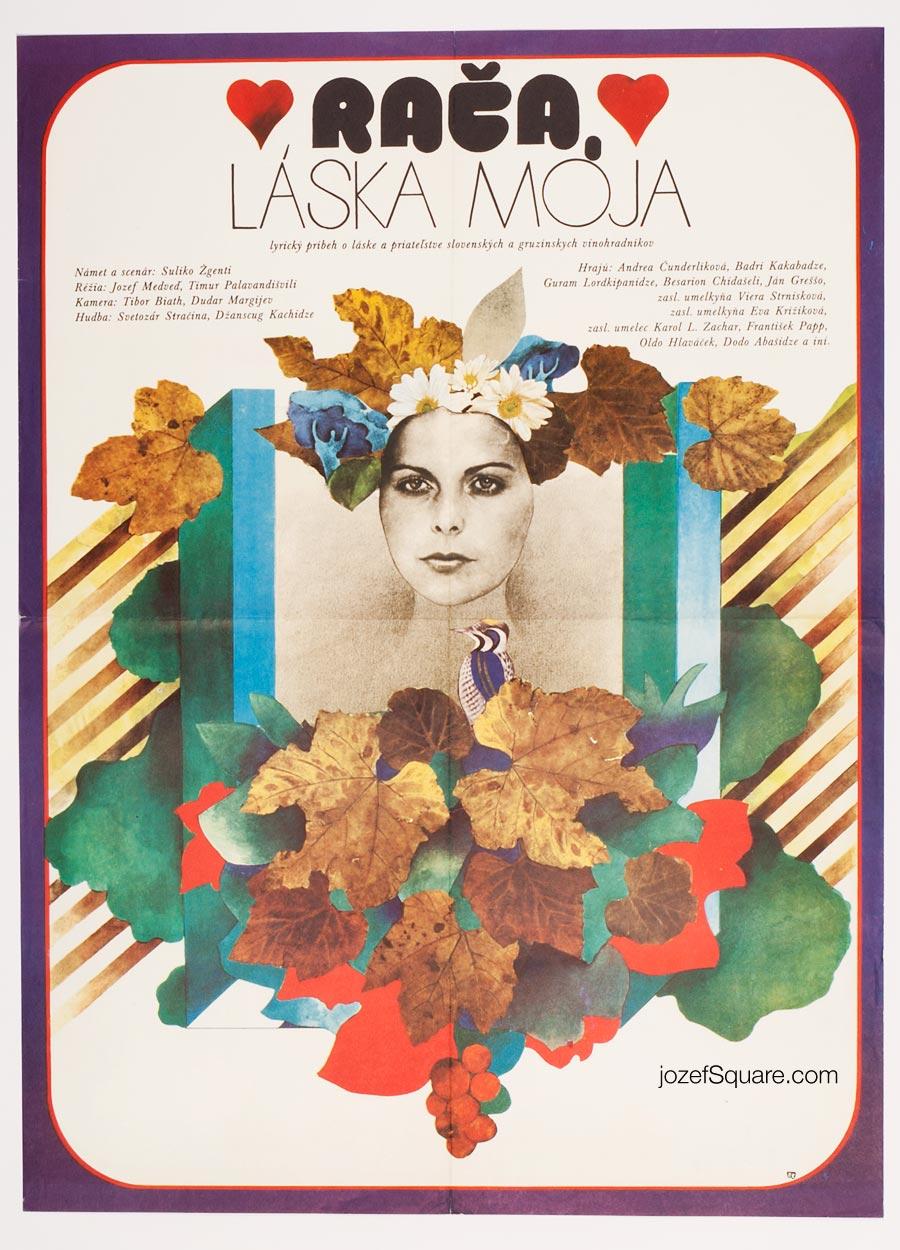 Romantic Movie Poster, Racha, My Love, 70s Cinema Art