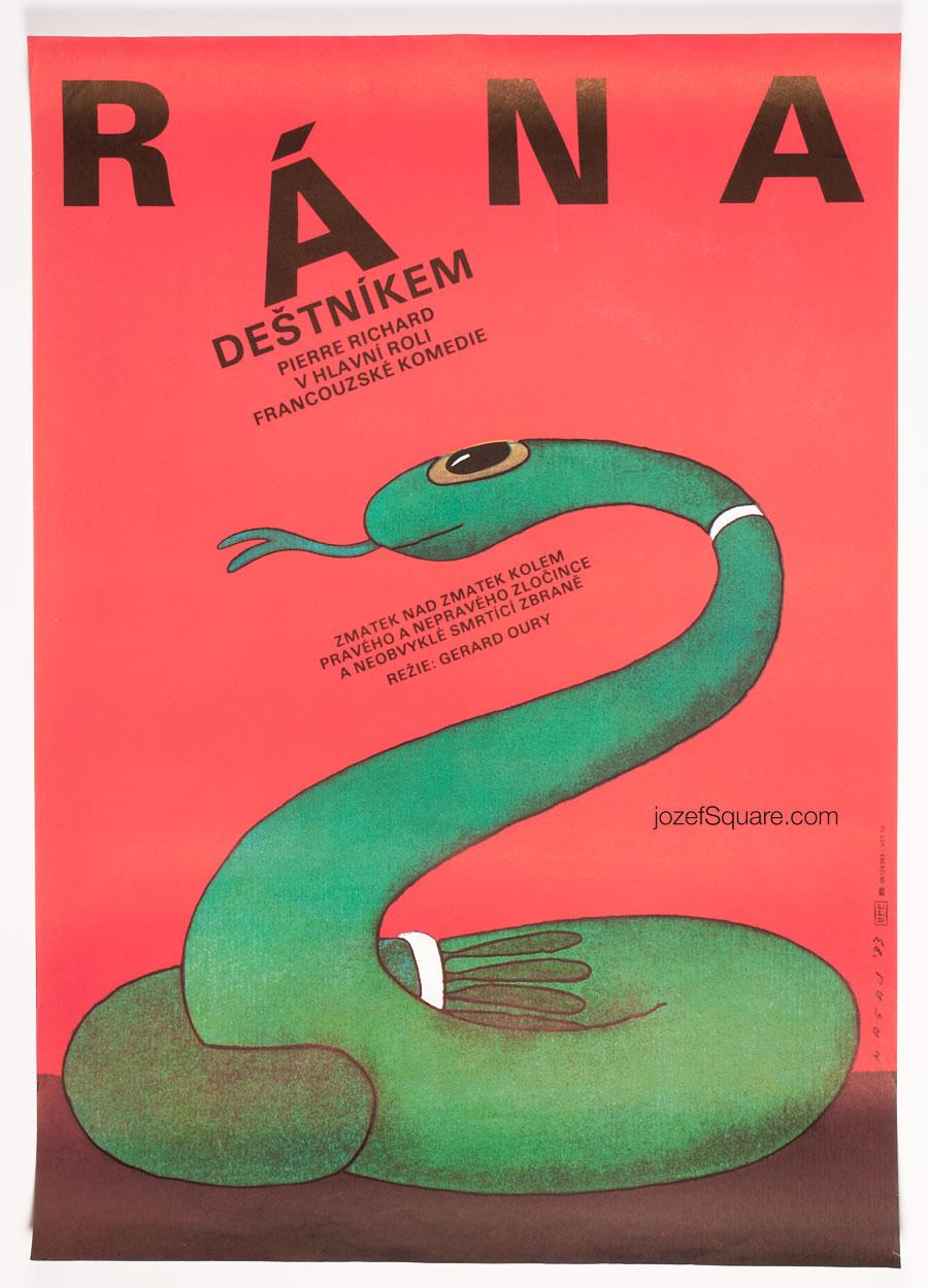 Movie Poster, The Umbrella Coup, Pierre Richard, 80s Cinema Art