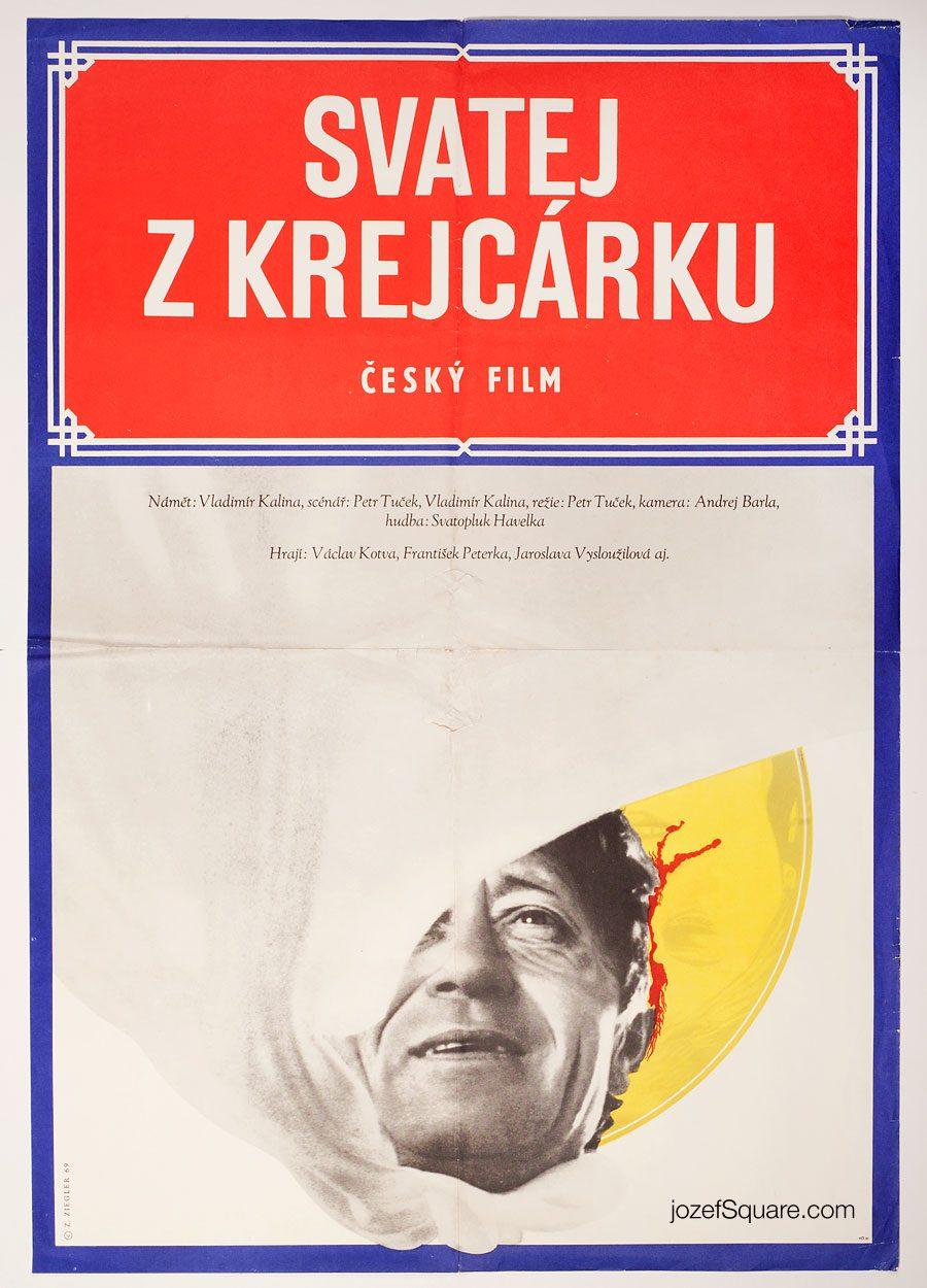 Movie Poster, Saint from Krejcárek, 60s Zdenek Ziegler