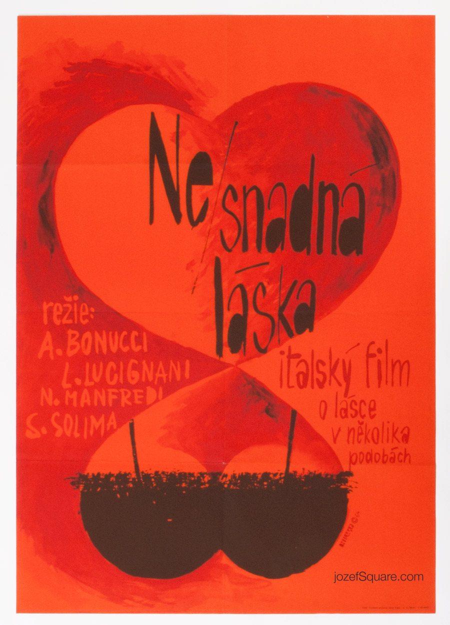 Movie Poster, Sex Can Be Difficult, Jiri Hilmar, 60s Cinema Art