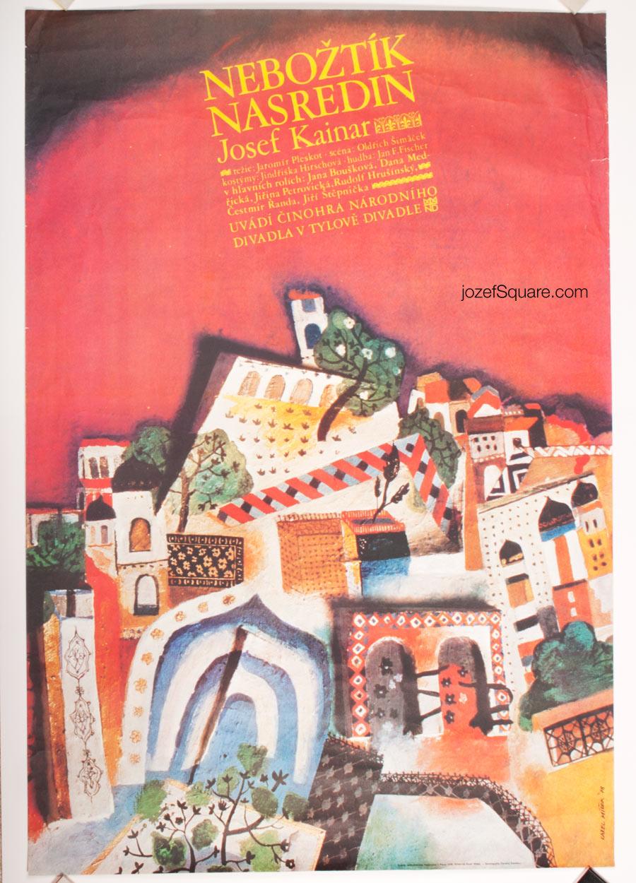 Theatre Poster, Deceased Nasredin, Karel Misek