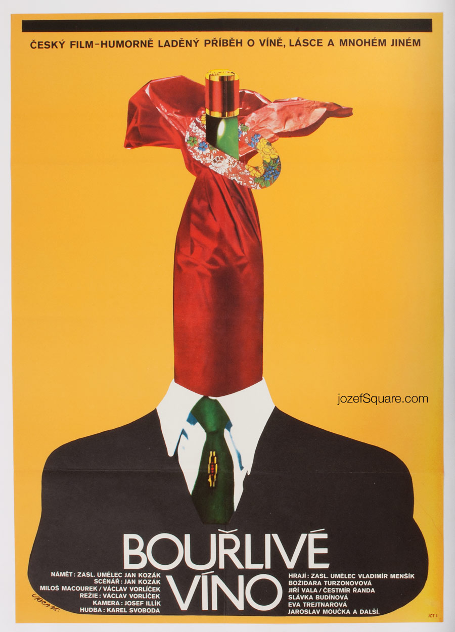 Movie Poster, Wine Working, Karel Vaca, 70s Cinema Art