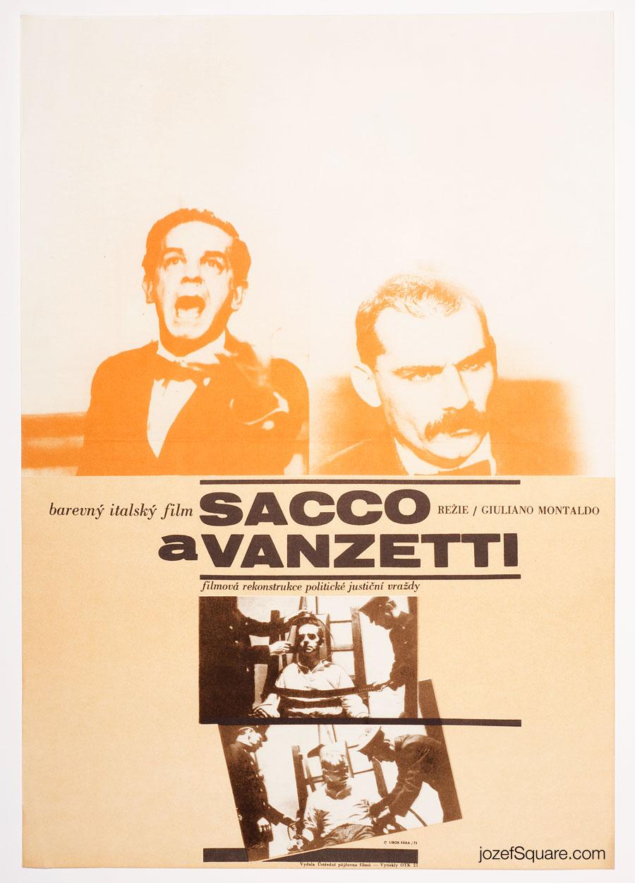 Sacco and Vanzetti Movie Poster, 70s Cinema Art