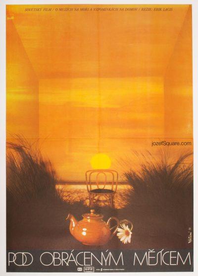 Movie Poster, Pod Obracenym Mesicem, 70s Cinema Art