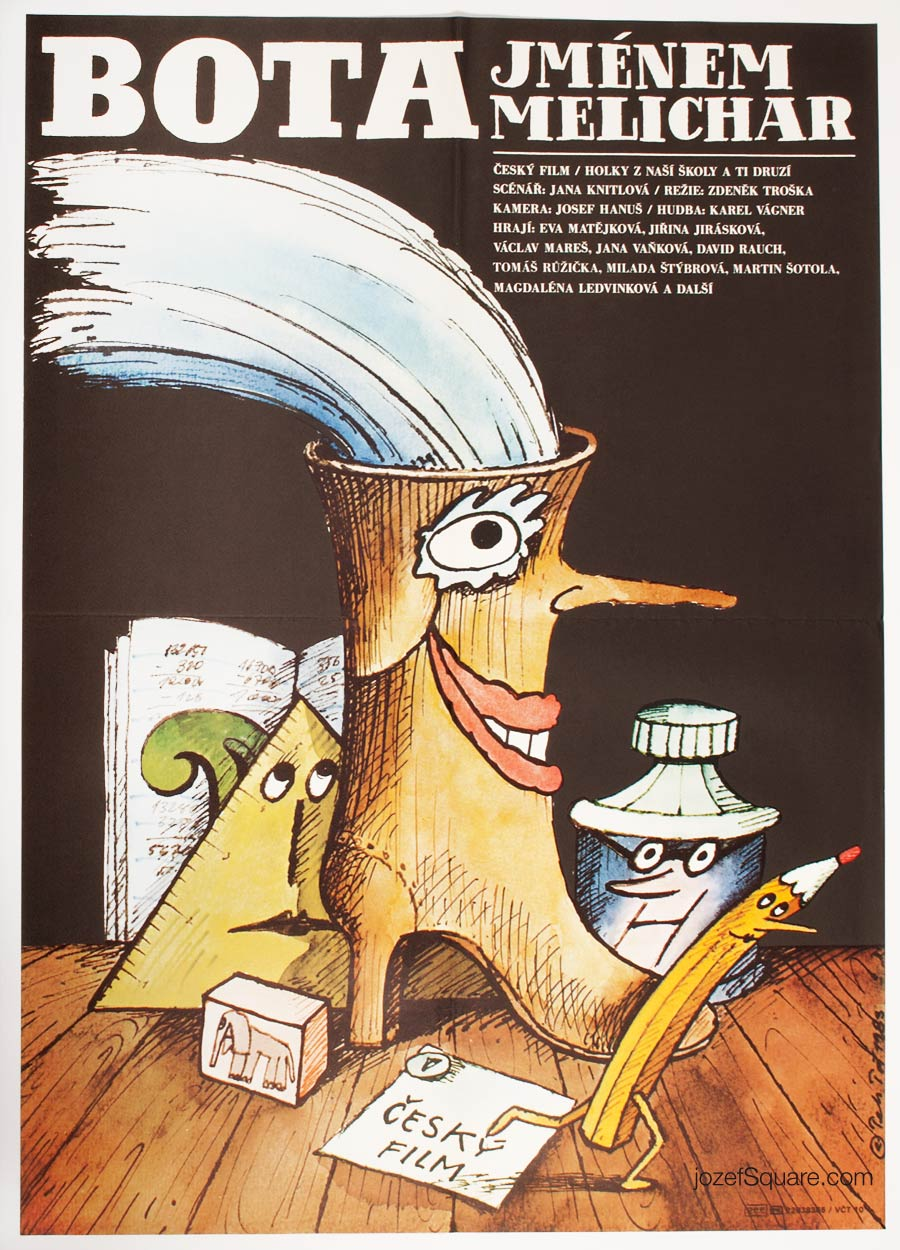 Movie Poster, Melichar the Boot, 80s Illustrated Cinema Art
