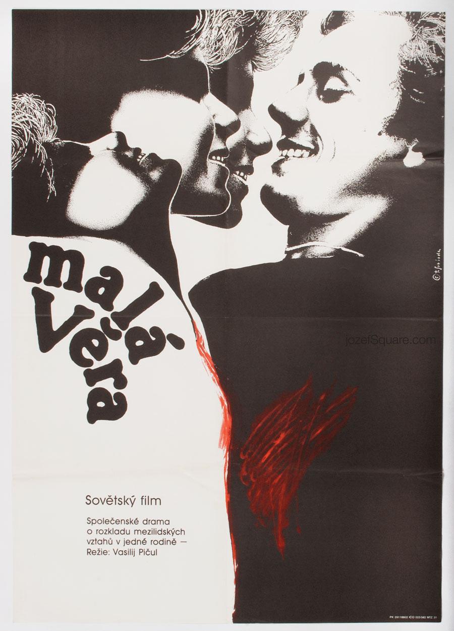 Movie Poster, Little Vera, 80s Illustrated Cinema Art