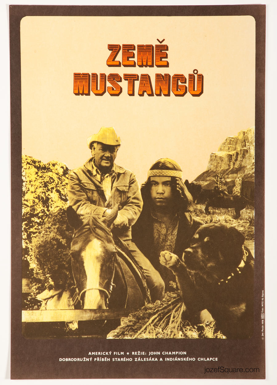 Mustang Country Movie Poster, 70s Western Cinema Art