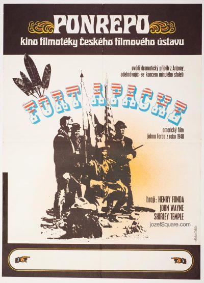 Fort Apache Movie Poster, John Wayne, 70s Western Cinema Art