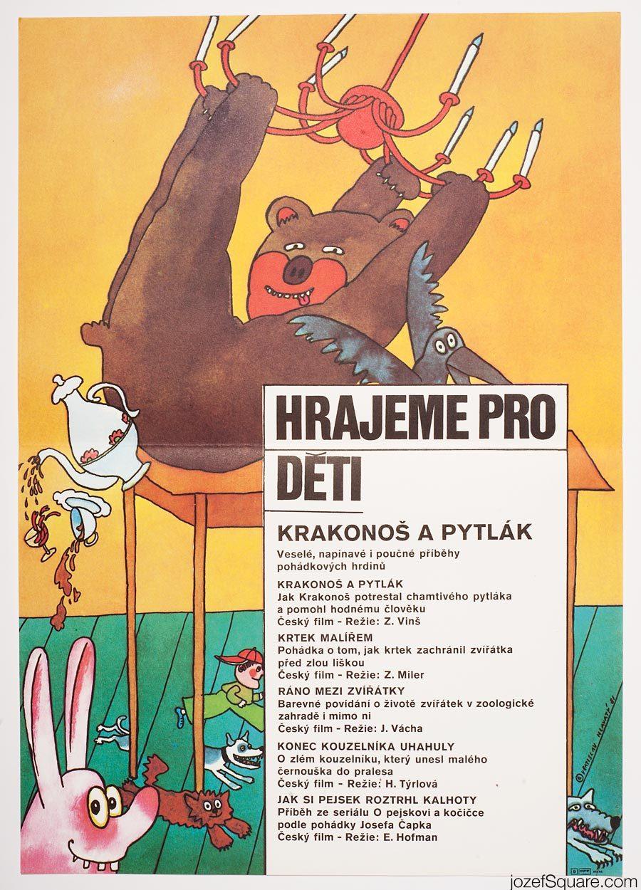 Kids Movie Poster, Old Nip and the Poacher, Vratislav Hlavaty