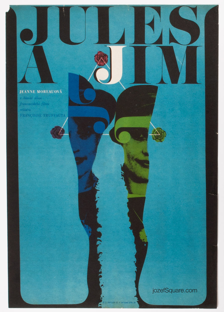 Jules and Jim Movie Poster, Francois Truffaut