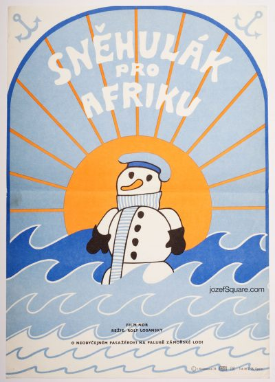 Movie Poster, A Snowman for Africa, 70s Cinema Art