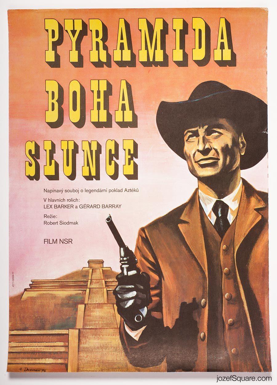 Western Movie Poster, Pyramid of the Sun God, 70s Cinema Art