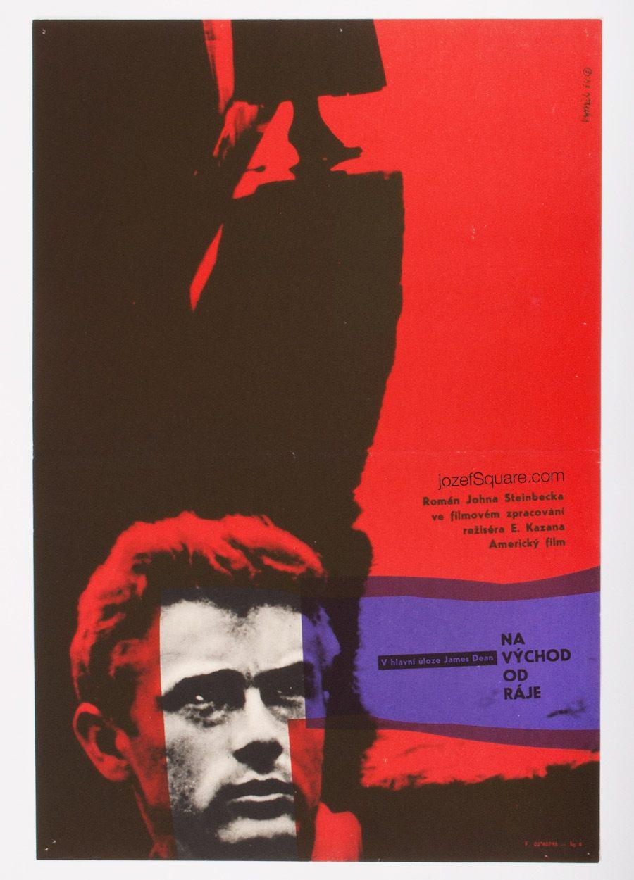 East of Eden Movie Poster, James Dean, 60s Cinema Art
