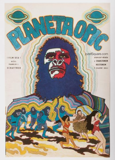 Planet of the Apes Movie Poster, Vratislav Hlavaty, 70s Cinema Art