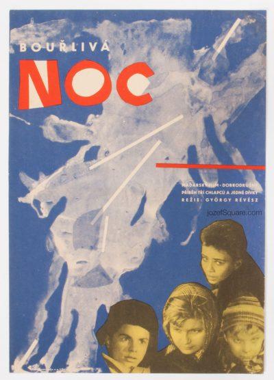 Movie Poster, Four Children in the Flood, 60s Cinema Art