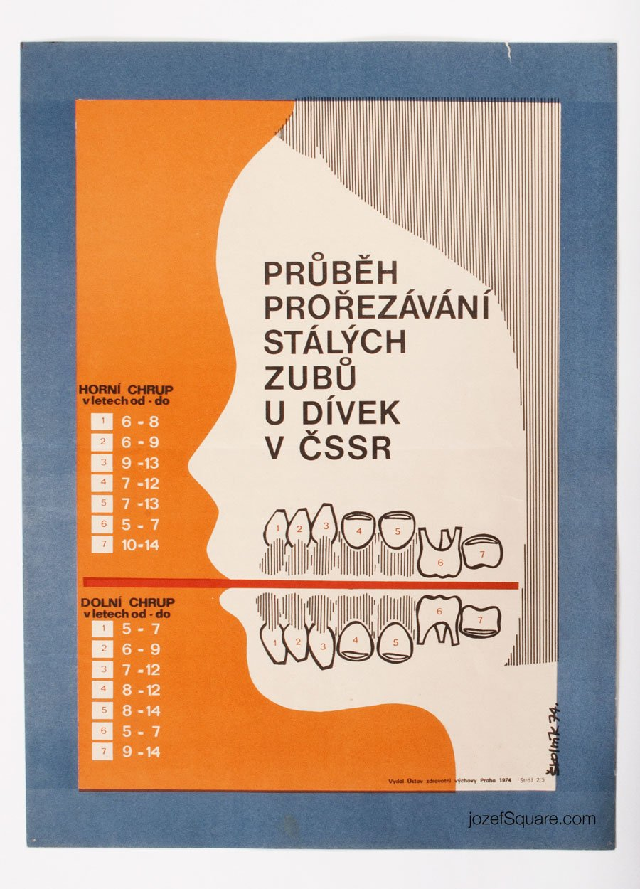 Health Advertising Poster, Process of Pruning Permanent Teeth for Girls
