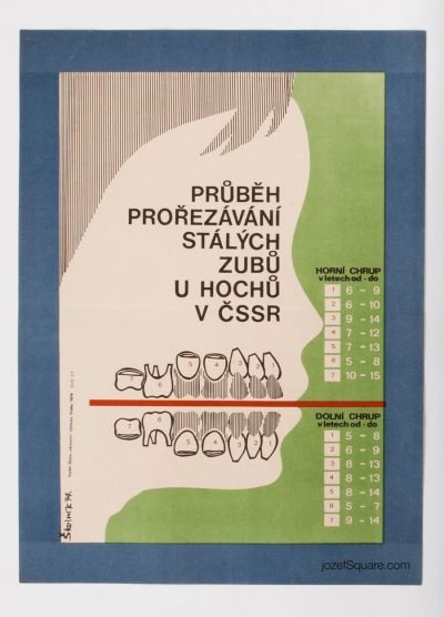 Health Propaganda Poster, Process of Pruning Permanent Teeth for Boys
