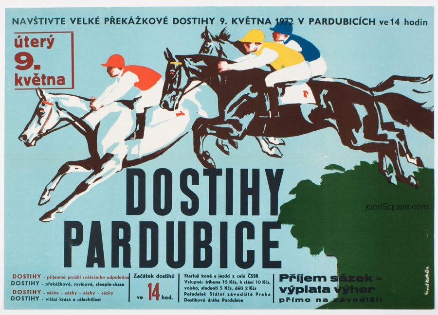Horse Racing Poster, Pardubice Derby, Emil Kotrba