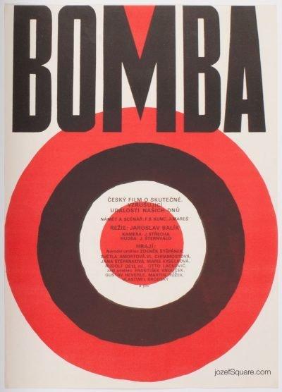 Minimalist Movie Poster, Bomb, 70s Cinema Art