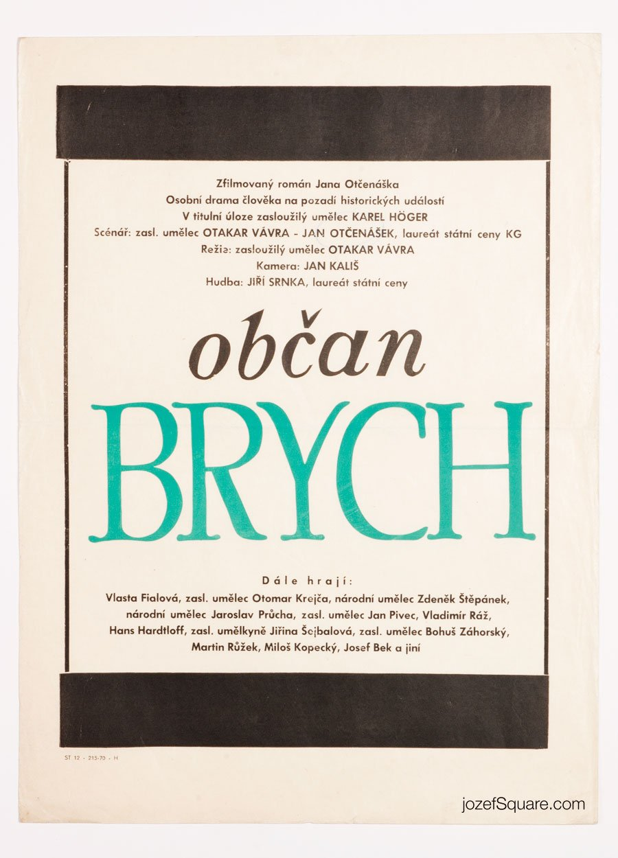 Movie Poster, Citizen Brych, Otakar Vavra