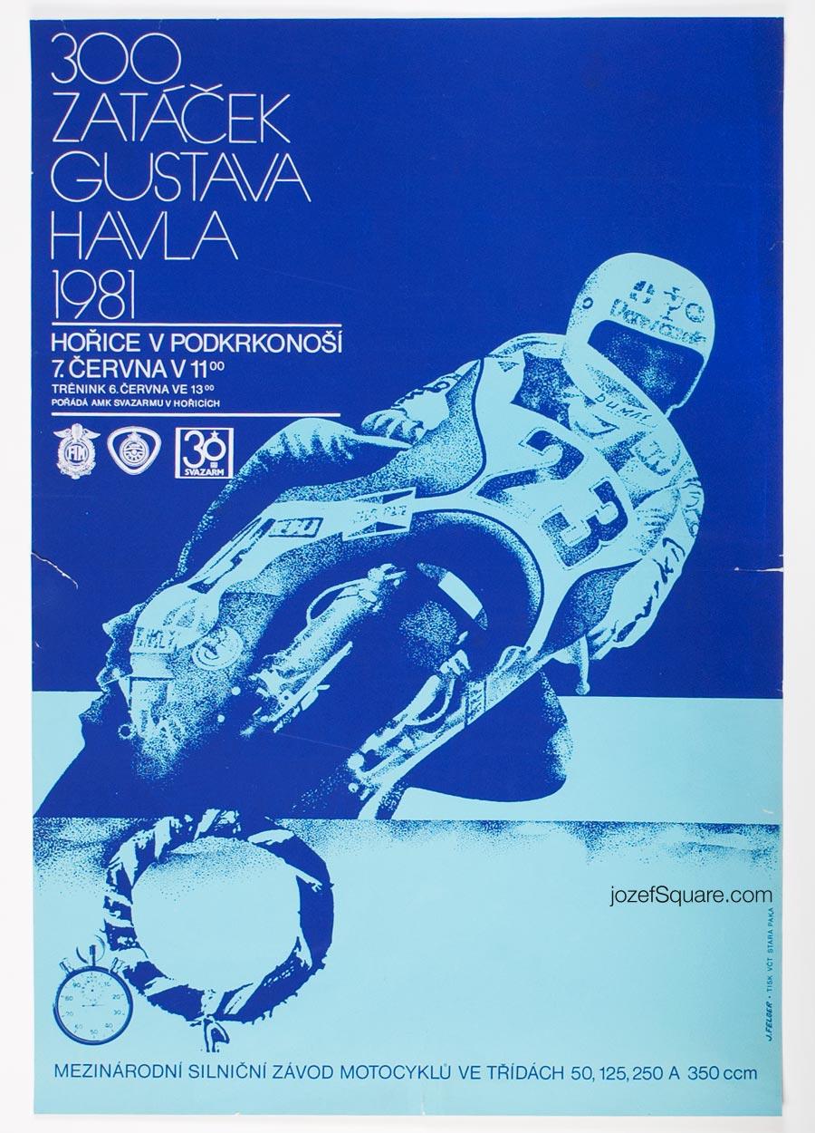 Motorcycle Racing Poster, 300 Curves Of Gustav Havel, Jiri Felger