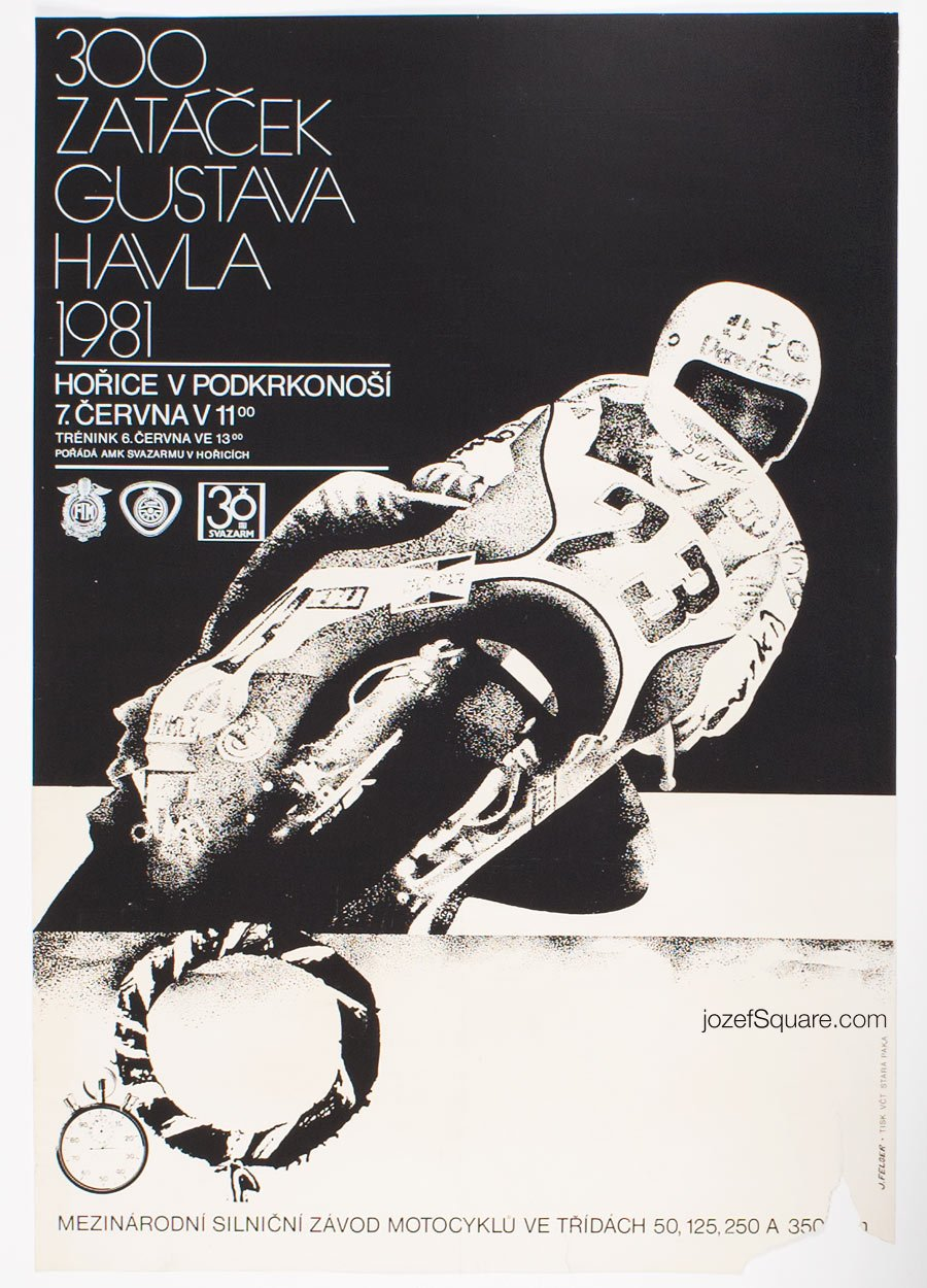 Motorcycle Racing Poster, 300 Curves Of Gustav Havel