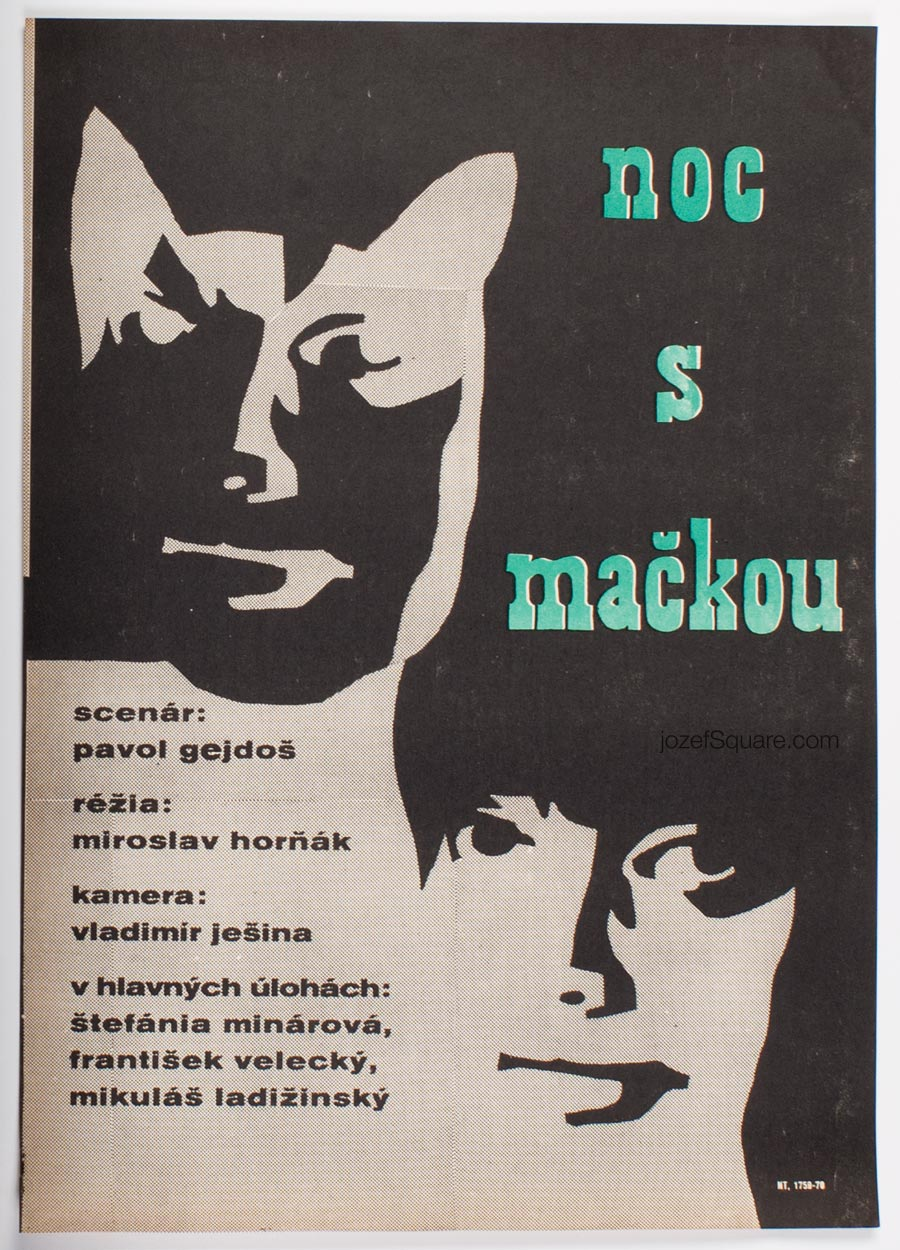 Movie Poster, Night with a Cat, Czechoslovak New Wave Cinema
